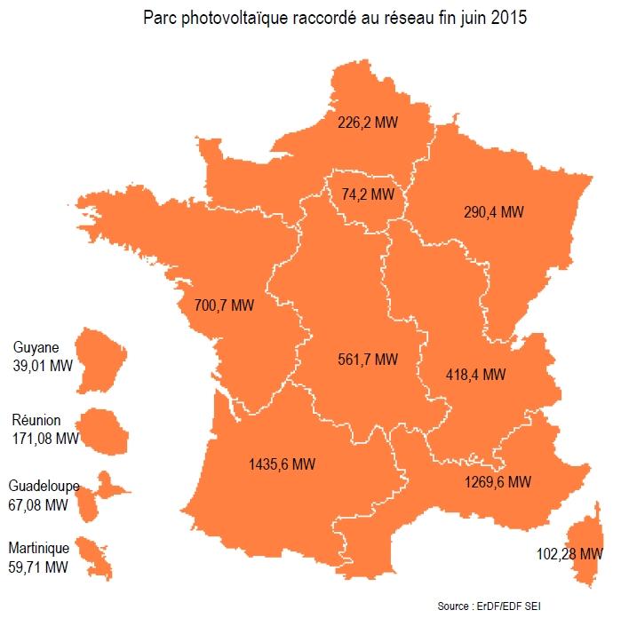 Le parc PV français en hausse de 397 MW au 1er semestre 2015