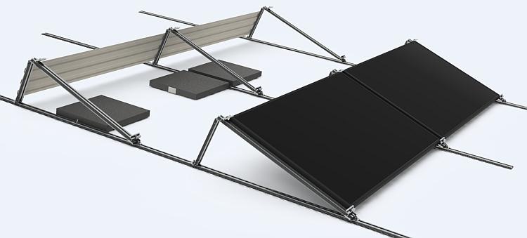Système de montage en alu pour installations PV sur toits plats