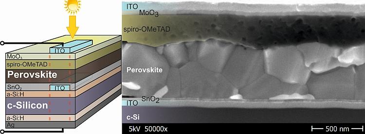 Rendement : 25,1% pour l'hétérojonction en silicium, 18% pour une cellule tandem à pérovskite