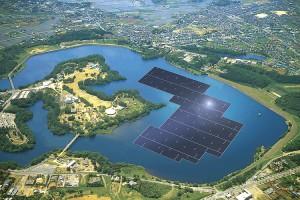 La centrale solaire flottante de 13,7 MWc construite par Kyocera TCL Solar sur le barrage de Yamakura, avec 50904 modules PV de 270 W (pas encore en service)