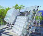 Tracker de test pour système CPV installé en toiture d'un bâtiment du Fraunhofer ISE. Un dispositif identique sera installé en Inde (Photo : Fraunhofer ISE)