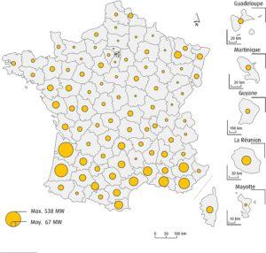 Puissance solaire photovoltaïque totale raccordée par département au 31 mars 2016 (en MW) Champ : métropole et DOM. Source : SOeS d'apres ERDF, RTE, EDF-SEI, CRE et les principales ELD