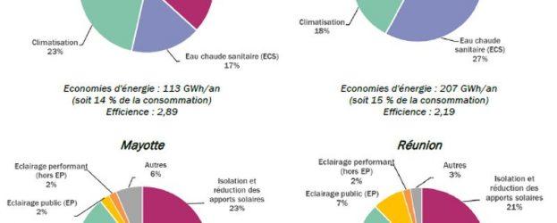 Au global, pour les six territoires, les économies d'énergie réalisables une fois l'ensemble des actions du plan mises en œuvre s'élèvent à 879 GWh/an, soit 10 % de leur consommation d'électricité en 2017. Aux ZNI présentées, il convient d'ajouter la Corse (123 GWh) et la Guadeloupe (228 GWh).