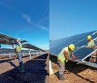 Montage de panneaux solaires sur les centrales PV de Montane Sud (Corrèze), à gauche, et de Sanguinet (Landes), à droite. Photos: ENGIE Green