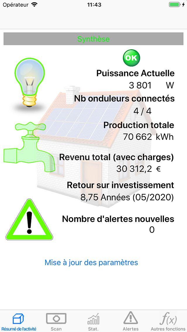 Logiciel de contrôle des panneaux photovoltaïques pour iPhone/iPad