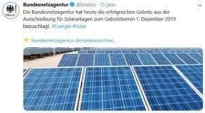 Succès du dernier appel d'offres PV en Allemagne