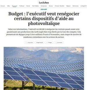 La profession dénonce la tentative de remise en cause du dispositif de soutien au solaire