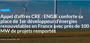 Appel d'offres CRE : Engie remporte près de 100 MW de projets