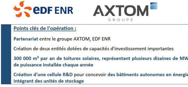 EDF ENR s'allie à Axtom pour accélérer le développement du solaire photovoltaïque dans le bâtiment