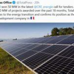 Total remporte 50 MW au dernier appel d'offres solaire de la CRE – près de 400 MW attribués en 18 mois