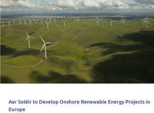 547 Energy crée Aer Soléir pour développer des projets d'énergie renouvelable en Europe
