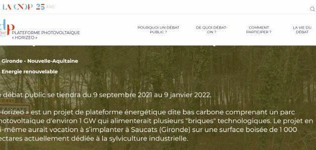 Plateforme photovoltaïque « Horizeo » à Saucats : le débat public a débuté le 9 septembre